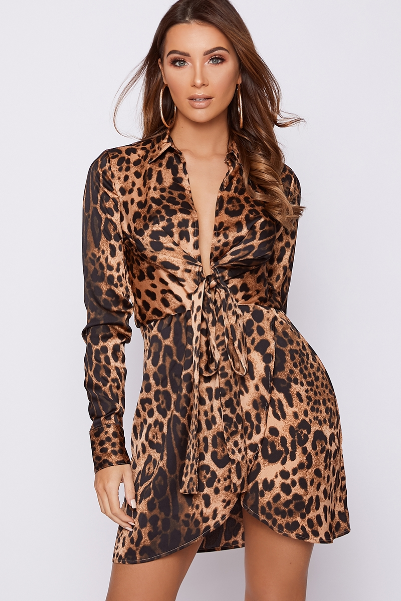 LEOPARD PRINT TIE FRONT SATIN SHIRT DRESS